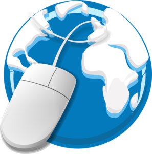 computer mouse over world