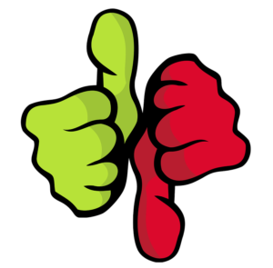 Green thumbs up and red thumbs down