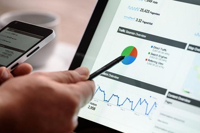 Analytics on website screen