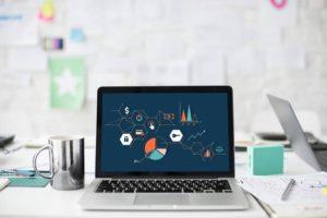 Engagement chart on laptop