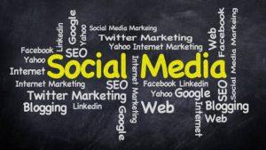 social media on black board