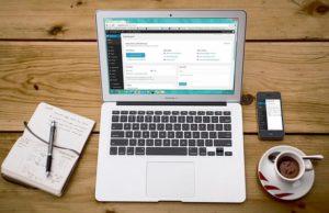 laptop and wordpress