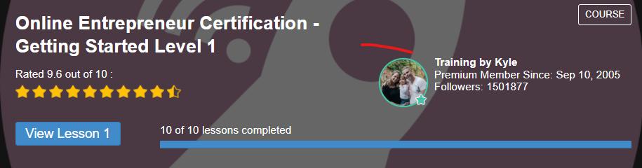 online entrepreneur certification level 1