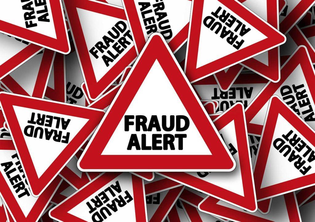 fraud alert sign