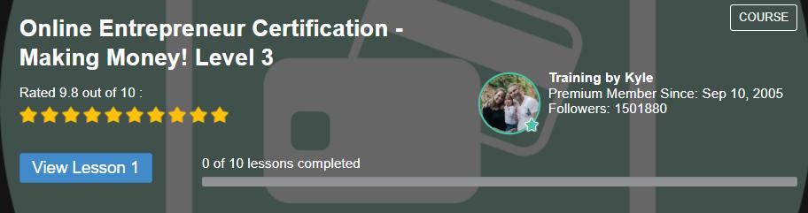 online entrepreneur certification level 3