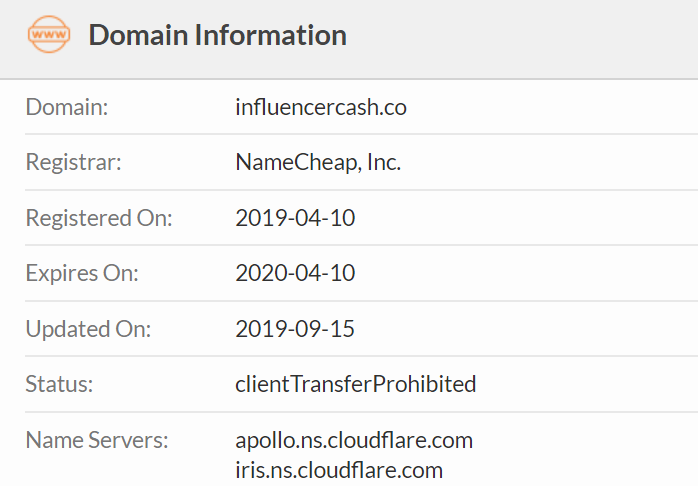 influencercash domain lookup on whois