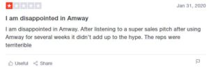 negative reivew on trustpilot is Amway a scam