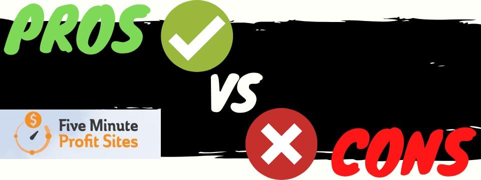 five minute profit sites pros vs cons