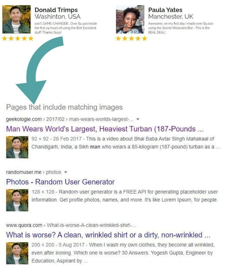secret millionaire bot review testimonials and matching images found on google