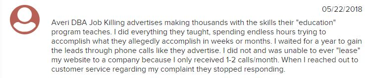 job killing review complaints on bbb