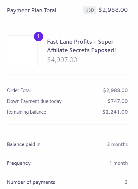 fast lane profits payment plan