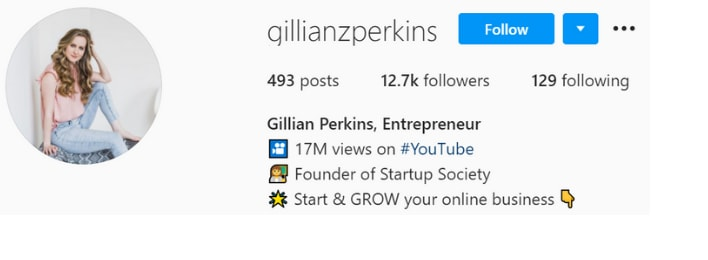 gillian perkins startup society review instagram