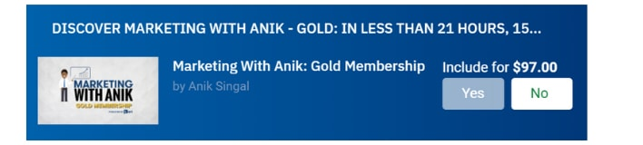 order bump anik singal gold
